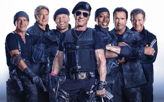 New Expendable stars from left: Antonio Banderas (Galgo), Harrison Ford (Drummer) Jason Statham (Lee Christmas), Sylvester Stallone (Barney Ross), Wesley Snipes (Doc) and Arnold Schwarzenegger (Trench). Catch EXPENDABLES3 in Resort's World Manila, Eastwood Mall and Lucky Chinatown Mall.