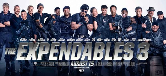 From left: Dolph Lundgren (Gunnar Jensen), Glenn Powell (Thorn), Victor Ortiz (Mars), Harrison Ford (Drummer), Antonio Banderas (Galgo), Wesley Snipes (Doc), Jason Statham (Lee Christmas), Sylvester Stalllone (Barney Ross), Ronda Rousey (Luna), Kellan Lutz (Smilee), Arnold Schwarzenegger (Trench), Terry Crews (Hale Caesar), Mel Gibson (Conrad Stonebanks), Kelsey Grammer (Bonaparte), Jet Li (Yin Yang) and seated Randy Couture (Toll Road). Catch EXPENDABLES3 in Resort's World Manila, Eastwood Mall and Lucky Chinatown Mall.