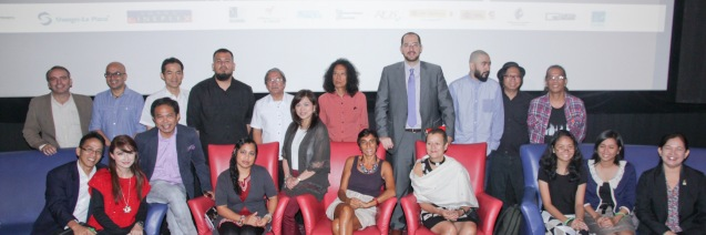 Seated from left: Japan Foundation Proj. Coordinator Rolando Samson, Fame Flores, French Audio Visual Attaché Martin Macalintal, Carol Bello (KALAYO), Shang Rila Plaza Mktg Div Head Marline Dualan, Officer for the Promotion of Italian Language and Culture Prof. Emanuela Adesini, Goethe Institut Philippinen Dir. Petra Raymond, Manila Composer's Lab-- Melita Cruz & Marie Luise Calvero and FDCP Head of Cinema Evaluation & Coordination Wilma Isleta. Standing from left: Inst. Cervantes Head of Cultural Affairs Jose Fons, Razorback Mgr. Patrick Pulumbarit,  Japan Foundation Dir. Shuji Takatori, Rotsanjani Mojica (KAAPIN), FDCP Exec Dir. Teddy Granados, Sammy Asuncion (GLASS CHERRY BREAKERS), Inst Cervantes Mla Mng Dir Dr. Carlos Madrid, Caliph8, Francis De Veyra (RADIOACTIVESAGO PROJECT) and MCL Founder Prof Jonas Baes. Catch Silent films for free with live scoring by the hottest bands at the Intl Silent Film Fest at Shang Cineplex, Shang Rila Plaza Mall from Aug 28-31, 2014. Photo by Jude Bautista
