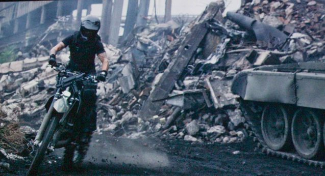 Kellan Lutz (Smilee) on motorcycle. Catch EXPENDABLES3 in Resort's World Manila, Eastwood Mall and Lucky Chinatown Mall.
