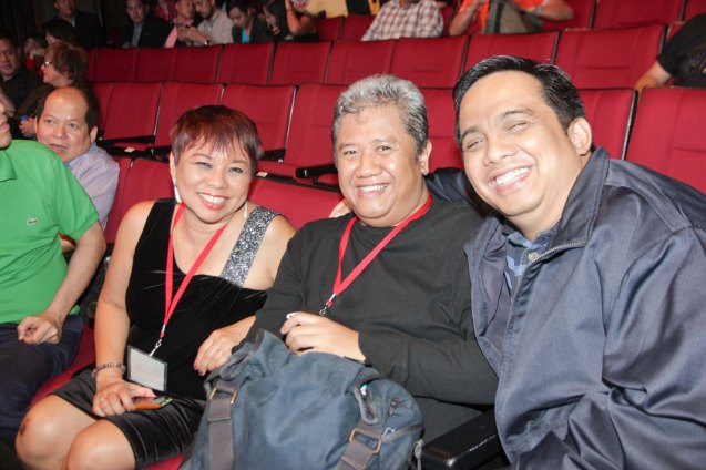 Journalists from left: MB's Janet Susan Rodriguez Nepales, PDI's Bayani San Diego and S6PARADOS Producer Noel Ferrer during the Cinemalaya X Awards last August 10, 2014 at the CCP. Watch out for Cinemalaya films' commercial release in the coming months. Photo by Jude Bautista