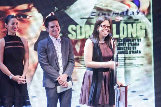 Janice O'Hara (SUNDALONG KANIN) receives Audience Choice Award- NEW BREED during the Cinemalaya X Awards last August 10, 2014 at the CCP. Watch out for Cinemalaya films' commercial release in the coming months. Photo by Jude Bautista