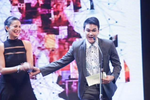Nathan Lopez corrects himself after mistaking Angel Aquino for Angel Locsin during the Cinemalaya X Awards last August 10, 2014 at the CCP. Watch out for Cinemalaya films' commercial release in the coming months. Photo by Jude Bautista