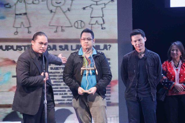 Best Sound New Breed from left: Gerone Centeno, Jonathan Hee, Bryan Dumaguina CHILDREN'S SHOW. The Cinemalaya X Awards was held last August 10, 2014 at the CCP. Watch out for Cinemalaya films' commercial release in the coming months. Photo by Jude Bautista