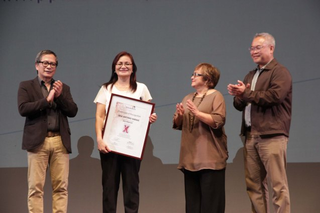 from left: Cinemalaya Pres. Nestor Jardin, Emilie Salinas, Cinemalaya Competition Head Laurice Guillen and Cinemalaya Festival Director Chris Millado. Salinas received the award of Recognition for her son Jose Antonio Vargas from the Cinemalaya foundation. Ceremonies were held at the screening of DOCUMENTED which opened Cinemalaya X last August 1, 2014 at the CCP. Photo by Jude Bautista.