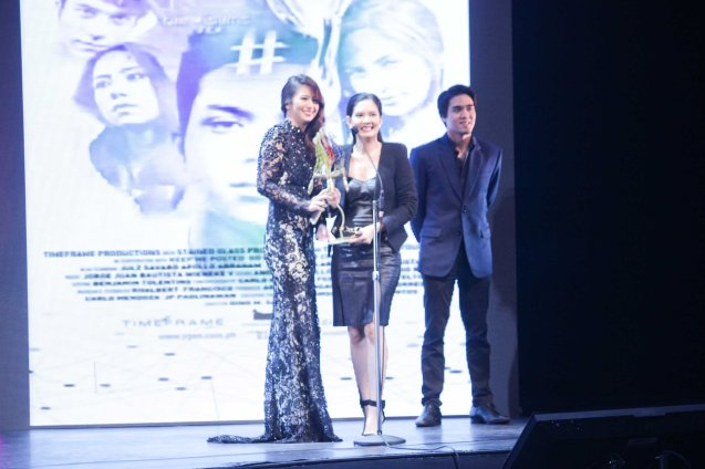 from left: Sophie Albert, Chynna Ortaleza  and director Gino Santos receives the Special Citation Ensemble for #Y. The Cinemalaya X Awards was held last August 10, 2014 at the CCP. Watch out for Cinemalaya films' commercial release in the coming months. Photo by Jude Bautista
