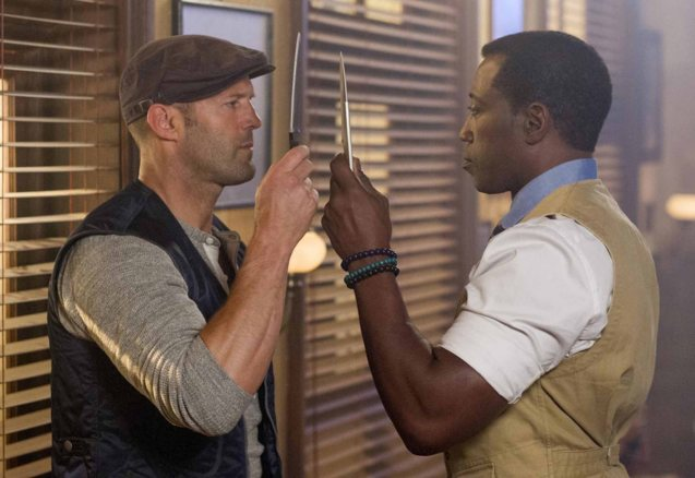 from left: Jason Statham and Wesley Snipes show off their knife skills. Catch EXPENDABLES3 in Resort's World Manila, Eastwood Mall and Lucky Chinatown Mall.