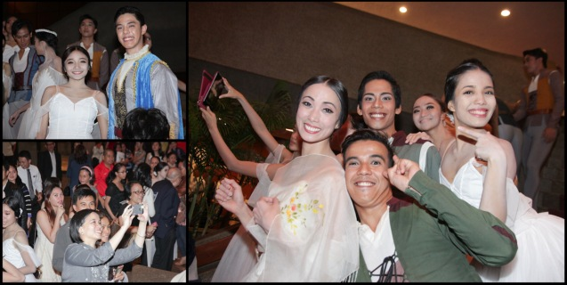 top left: Jemima Sanielle Reyes (Zulme) & Chin Valdez, main photo: Stella Abrera, Emmanuel Guillermo, Victor Maguad (Peasant Pas De Quatre), Corinne Siniguian (Wilis) and Carissa Adea (Moyna). Ballet Philippines' 45th year was celebrated with a special staging of GISELLE from September 19, 20 & 21, 2014 at the CCP Tanghalang Nicanor Abelardo. Photo by Jude Bautista
