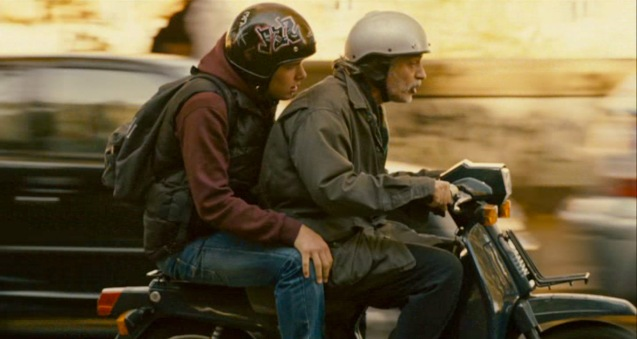 Fabrizio Bentivoglio (Bruno) takes Filippo Scicchitano (Luca) to school on his scooter. Cine Europa will screen SCIALLA and the best European movies for free at Shang Cineplex, Shang Rila Plaza from September 11-21, 2014.