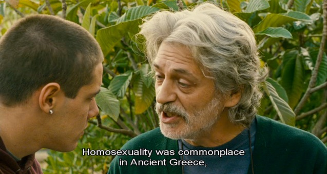 Fabrizio Bentivoglio (Bruno) talks about Achilles' homosexual relationship with Patroclus to Filippo Scicchitano (Luca). Cine Europa will screen SCIALLA and the best European movies for free at Shang Cineplex, Shang Rila Plaza from September 11-21, 2014.