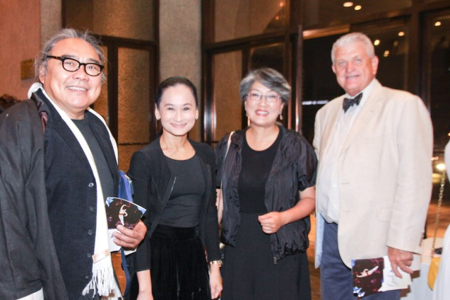 from left: Alexander Cortez, Lisa Macuja Elizalde, Irene Marcos-Araneta and BP Trustee Richard Upton. Ballet Philippines' 45th year was celebrated with a special staging of GISELLE from September 19, 20 & 21, 2014 at the CCP Tanghalang Nicanor Abelardo. Photo by Jude Bautista