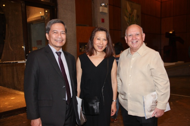 from left: Cinemalaya Pres. Nestor Jardin, SM Hotel and Conventions Pres. Elizabeth Sy & D.O.T Usec Edu Jarque. Ballet Philippines' 45th year was celebrated with a special staging of GISELLE from September 19, 20 & 21, 2014 at the CCP Tanghalang Nicanor Abelardo. Photo by Jude Bautista
