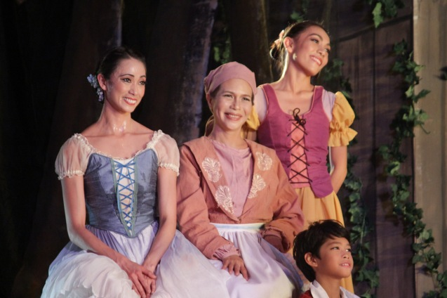 from left: Stella Abrera (Giselle), Mailes Kanapi (Berthe), Gilliane Gequinto & kid. Ballet Philippines' 45th year was celebrated with a special staging of GISELLE from September 19, 20 & 21, 2014 at the CCP Tanghalang Nicanor Abelardo. Photo by Jude Bautista