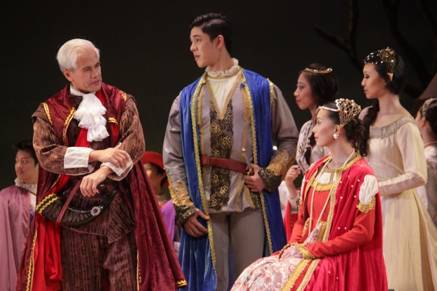 from left: Restager Nonoy Froilan (as Duke of Courtland), Chin Valdes (Lord of the Court)  & Ma. Celina Dofitas (Countess Bathylde). Ballet Philippines' 45th year was celebrated with a special staging of GISELLE from September 19, 20 & 21, 2014 at the CCP Tanghalang Nicanor Abelardo. Photo by Jude Bautista