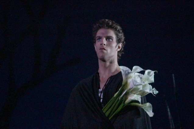 James Whiteside (Albrecht) is inconsolable with the loss of Giselle. Ballet Philippines' 45th year was celebrated with a special staging of GISELLE from September 19, 20 & 21, 2014 at the CCP Tanghalang Nicanor Abelardo. Photo by Jude Bautista