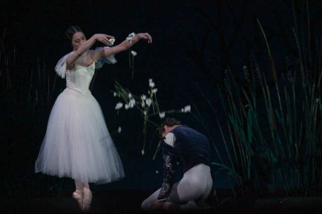 Stella Abrera (Giselle) as a spirit departs from James Whiteside (Albrecht). Ballet Philippines' 45th year was celebrated with a special staging of GISELLE from September 19, 20 & 21, 2014 at the CCP Tanghalang Nicanor Abelardo. Photo by Jude Bautista