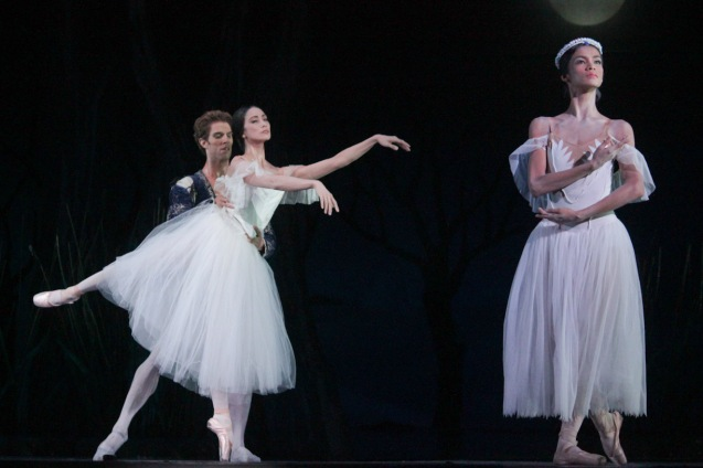 from left: James Whiteside (Albrecht) & Stella Abrera (Giselle) and Rita Angela Winder (Queen Myrtha). Ballet Philippines' 45th year was celebrated with a special staging of GISELLE from September 19, 20 & 21, 2014 at the CCP Tanghalang Nicanor Abelardo. Photo by Jude Bautista