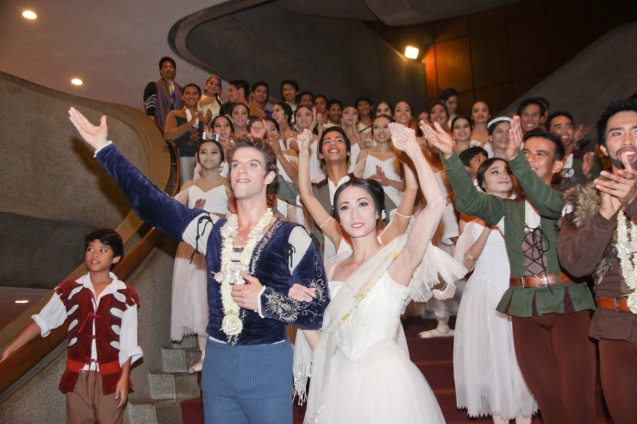 Stella Abrera (Giselle) & James Whiteside (Albrecht) and cast descend at the CCP lobby staircase. Ballet Philippines' 45th year was celebrated with a special staging of GISELLE from September 19, 20 & 21, 2014 at the CCP Tanghalang Nicanor Abelardo. Photo by Jude Bautista
