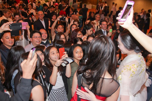 Fans try to take selfies with Stella Abrera. Ballet Philippines' 45th year was celebrated with a special staging of GISELLE from September 19, 20 & 21, 2014 at the CCP Tanghalang Nicanor Abelardo. Photo by Jude Bautista