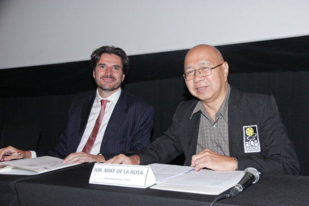 from left: EU Political Counselor Dr. Julian Vassallo and FDCP Exec Dir Mike Dela Rosa. Cine Europa will screen the best European movies for free at Shang Cineplex, Shang Rila Plaza from September 11-21, 2014. Photo by Jude Bautista.