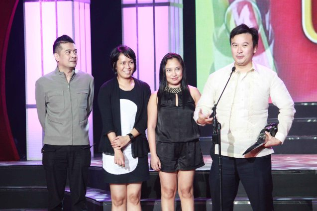 ANG SAYAW NG DALAWANG KALIWANG PAA team from right: Producer Alemberg Ang, Associate Producers Beth Maquiling-Lozada, Gaye Domingo and Dennis Cortez. Photo was taken during the 35th Gawad Urian awards night last June 13, 2012 at the AFP Theater. Photo by Jude Bautista