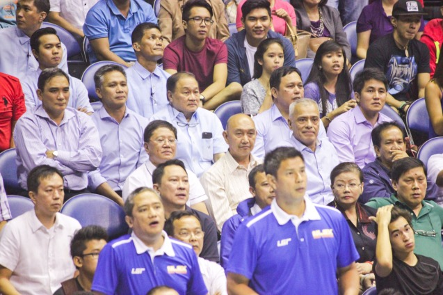 MVP & CEOs intently watch the NLEX Road Warrior's PBA debut. Catch PBA games live in SMART ARANETA Coliseum. If not you can watch the PBA's 40th season live airing on TV5 five times a week on TUES, WED and FRI, with the first game at 4:15 p.m. and the second game at 7 p.m.; on SAT at 5 p.m.; and SUN at 3 p.m. and 5 p.m. Photo by Jude Bautista