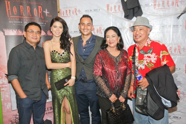 from left: Interaksyon Ent Editor and HUKULUBAN screenwriter Eric Ramos, Krista Miller (Mira), Kiko Matos (Kandro), Minda Flores (Hukluban), director Gil Portes. Catch the HORROR PLUS Film Fest from October 29-Nov.4, 2014 at SM Cinemas. Photo by Jude Bautista