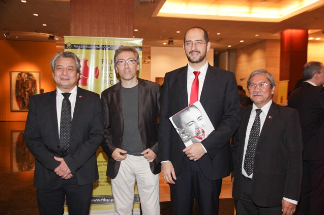 from left: FDCP Chairman Briccio Santos, David Trueba, Inst Cervantes Dir. Dr. Carlos Madrid and FDCP Exec Dir Teddy Granados. The PELICULA Spanish film festival will run from October 9-19, 2014 at the Greenbelt Cinemas. Photo by Jude Bautista