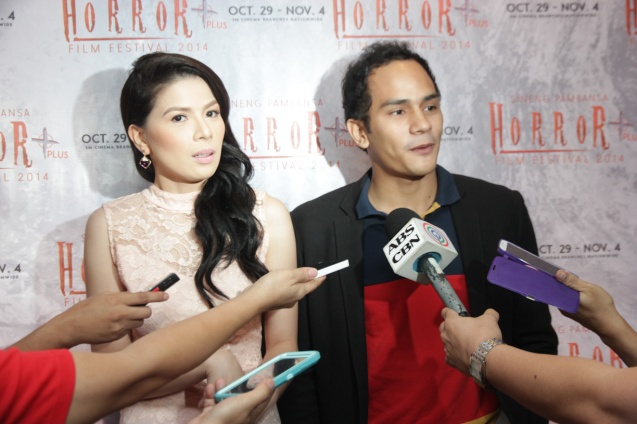 Krista Miller (Mira) & Kiko Matos (Pepito) of HUKLUBAN by Gil Portes written by Eric Ramos. Catch the HORROR PLUS Film Fest from October 29-Nov.4, 2014 at SM Cinemas. Photo by Jude Bautista