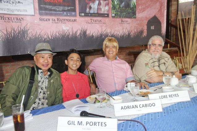 from left: Gil Portes of HUKLUBAN, Adrian Cabido, Lore Reyes & Peque Gallaga of TYANAK. Catch the HORROR PLUS Film Fest from October 29-Nov.4, 2014 at SM Cinemas. Photo by Jude Bautista