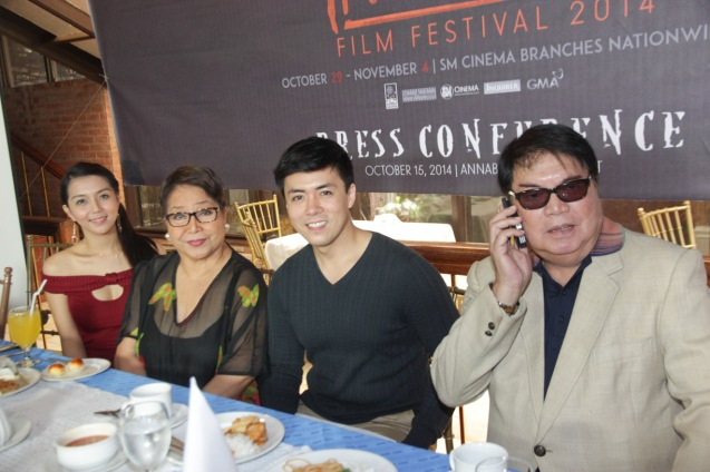 SIGAW SA HATING GABI cast from left: China Roces, Vangie Labalan , Lance Raymundo & Romy Suzara. Catch the HORROR PLUS Film Fest from October 29-Nov.4, 2014 at SM Cinemas. Photo by Jude Bautista