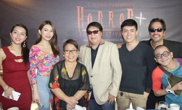 SIGAW SA HATING GABI cast from left: China Roces, Regine Angeles, Vangie Labalan, Director Romy Suzara, Lance Raymundo, Alvin Anson and Hero Bautista. Catch the HORROR PLUS Film Fest from October 29-Nov.4, 2014 at SM Cinemas. Photo by Jude Bautista