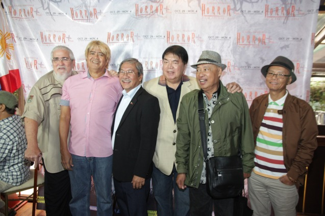 from left: Peque Gallaga, Lore Reyes--TYANAK, FDCP Exec. Dir. Teddy Granados, Romy Suzara (SIGAW SA HATINGGABI), Gil Portes (HUKLUBAN) and Edgardo Boy Vinarao (BACAO). Catch the HORROR PLUS Film Fest from October 29-Nov.4, 2014 at SM Cinemas. Photo by Jude Bautista