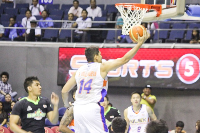 NLEX Road Warrior Enrico Villanueva sails in for a lay-up. Catch PBA games live in SMART ARANETA Coliseum. If not you can watch the PBA's 40th season live airing on TV5 five times a week on TUES, WED and FRI, with the first game at 4:15 p.m. and the second game at 7 p.m.; on SAT at 5 p.m.; and SUN at 3 p.m. and 5 p.m. Photo by Jude Bautista