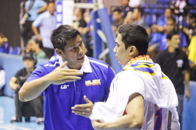 from left: PBA legend now NLEX Asst Coach Jojo Lastimosa coaches Jonas Viallanueva. Catch PBA games live in SMART ARANETA Coliseum. If not you can watch the PBA's 40th season live airing on TV5 five times a week on TUES, WED and FRI, with the first game at 4:15 p.m. and the second game at 7 p.m.; on SAT at 5 p.m.; and SUN at 3 p.m. and 5 p.m. Photo by Jude Bautista