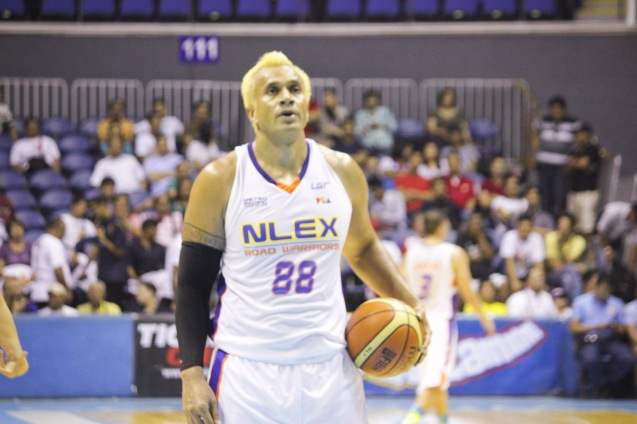 NLEX Road Warrior Asi Taulava on Free-throw line. Catch PBA games live in SMART ARANETA Coliseum. If not you can watch the PBA's 40th season live airing on TV5 five times a week on TUES, WED and FRI, with the first game at 4:15 p.m. and the second game at 7 p.m.; on SAT at 5 p.m.; and SUN at 3 p.m. and 5 p.m. Photo by Jude Bautista