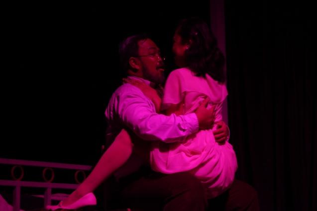 Jonathan Tadioan (Willy)  & Doray Dayao (Ang Babae). PAHIMAKAS SA ISANG AHENTE (DEATH OF A SALESMAN) of Tanghalang Pilipino runs from September 26 to October 19, 2014 at the Tanghalang Huseng Batute Theater, CCP. Photo by Jude Bautista