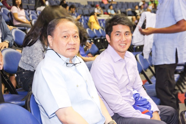 from left: PLDT Chairman and SBP Pres. Manny V Pangilinan and MPTC Chief Financial Officer and Treasurer Christopher Lizo. Catch PBA games live in SMART ARANETA Coliseum. If not you can watch the PBA's 40th season live airing on TV5 five times a week on TUES, WED and FRI, with the first game at 4:15 p.m. and the second game at 7 p.m.; on SAT at 5 p.m.; and SUN at 3 p.m. and 5 p.m. Photo by Jude Bautista