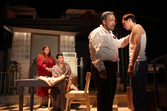 from right: Marco Viaña (Biff), Jonathan Tadioan (Willy), Ricardo Magno (Happy) & Racquel Pareño (Linda). PAHIMAKAS SA ISANG AHENTE (DEATH OF A SALESMAN) of Tanghalang Pilipino runs from September 26 to October 19, 2014 at the Tanghalang Huseng Batute Theater, CCP. Photo by Jude Bautista