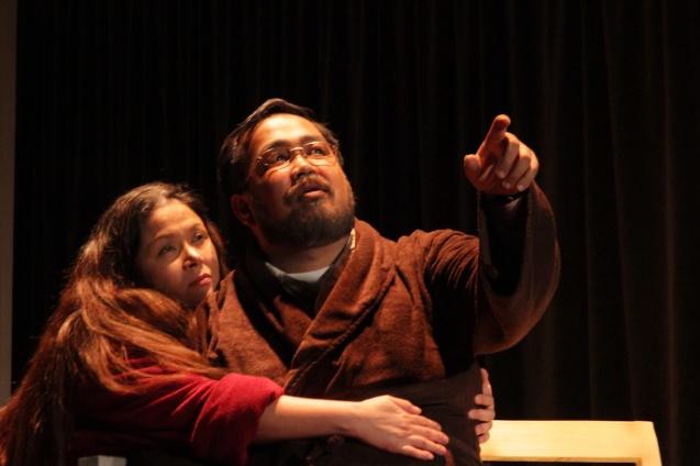 Racquel Pareño (Linda) & Jonathan Tadioan (Willy). PAHIMAKAS SA ISANG AHENTE (DEATH OF A SALESMAN) of Tanghalang Pilipino runs from September 26 to October 19, 2014 at the Tanghalang Huseng Batute Theater, CCP. Photo by Jude Bautista