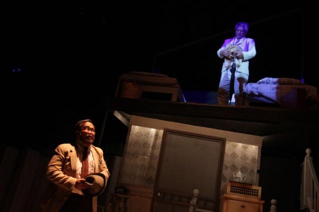(top) McDonnel Bolaños (Ben) haunts the memory of Jonathan Tadioan (Willy). PAHIMAKAS SA ISANG AHENTE (DEATH OF A SALESMAN) of Tanghalang Pilipino runs from September 26 to October 19, 2014 at the Tanghalang Huseng Batute Theater, CCP. Photo by Jude Bautista