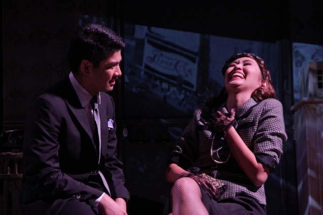 Regina de Vera (Ms Forsythe) and Ricardo Magno (Happy). PAHIMAKAS SA ISANG AHENTE (DEATH OF A SALESMAN) of Tanghalang Pilipino runs from September 26 to October 19, 2014 at the Tanghalang Huseng Batute Theater, CCP. Photo by Jude Bautista