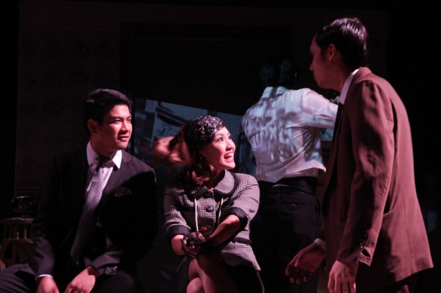 from right: Marco Viaña (Biff), Regina de Vera (Ms Forsythe) and Ricardo Magno (Happy). PAHIMAKAS SA ISANG AHENTE (DEATH OF A SALESMAN) of Tanghalang Pilipino runs from September 26 to October 19, 2014 at the Tanghalang Huseng Batute Theater, CCP. Photo by Jude Bautista
