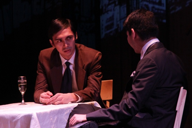 from left: Marco Viaña (Biff) and Ricardo Magno (Happy). PAHIMAKAS SA ISANG AHENTE (DEATH OF A SALESMAN) of Tanghalang Pilipino runs from September 26 to October 19, 2014 at the Tanghalang Huseng Batute Theater, CCP. Photo by Jude Bautista