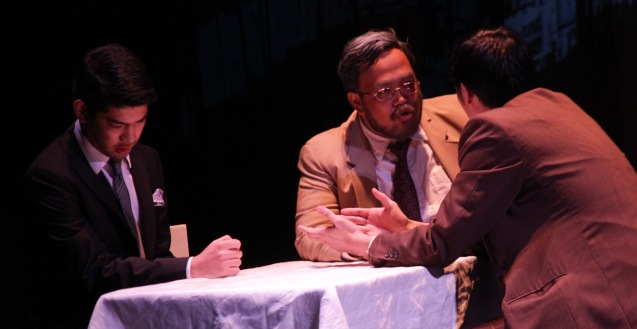 from left: Ricardo Magno (Happy), Jonathan Tadioan (Willy) and Marco Viaña (Biff). PAHIMAKAS SA ISANG AHENTE (DEATH OF A SALESMAN) of Tanghalang Pilipino runs from September 26 to October 19, 2014 at the Tanghalang Huseng Batute Theater, CCP. Photo by Jude Bautista