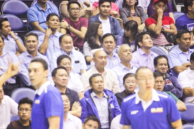 MVP has light moment with CEOs during tense game. Catch PBA games live in SMART ARANETA Coliseum. If not you can watch the PBA's 40th season live airing on TV5 five times a week on TUES, WED and FRI, with the first game at 4:15 p.m. and the second game at 7 p.m.; on SAT at 5 p.m.; and SUN at 3 p.m. and 5 p.m. Photo by Jude Bautista