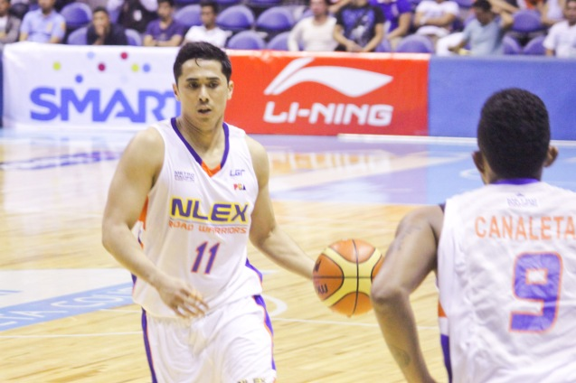NLEX Road Warrior Jonas Villanueva sets up offense. Catch PBA games live in SMART ARANETA Coliseum. If not you can watch the PBA's 40th season live airing on TV5 five times a week on TUES, WED and FRI, with the first game at 4:15 p.m. and the second game at 7 p.m.; on SAT at 5 p.m.; and SUN at 3 p.m. and 5 p.m. Photo by Jude Bautista