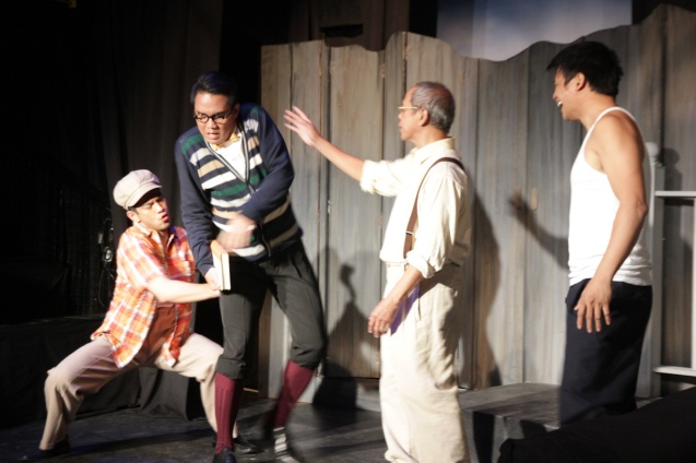 from left: Ricardo Magno (Happy), JV Ibesate (Bernard), Nanding Josef (Willy)  and Yul Servo (Biff). PAHIMAKAS SA ISANG AHENTE (DEATH OF A SALESMAN) of Tanghalang Pilipino runs from September 26 to October 19, 2014 at the Tanghalang Huseng Batute Theater, CCP. Photo by Jude Bautista