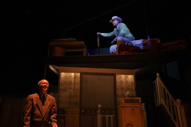 Top—Ding Navasero (Ben) haunts the memory of Nanding Josef (Willy). PAHIMAKAS SA ISANG AHENTE (DEATH OF A SALESMAN) of Tanghalang Pilipino runs from September 26 to October 19, 2014 at the Tanghalang Huseng Batute Theater, CCP. Photo by Jude Bautista