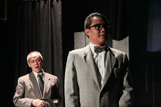 from right: JV Ibesate (Bernard) and Nanding Josef (Willy). PAHIMAKAS SA ISANG AHENTE (DEATH OF A SALESMAN) of Tanghalang Pilipino runs from September 26 to October 19, 2014 at the Tanghalang Huseng Batute Theater, CCP. Photo by Jude Bautista